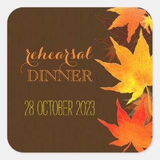 Autumn Maple Wedding Rehearsal Dinner Square Sticker