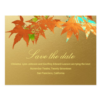 Autumn Maple Wedding Save The Date Faux Gold Foil Postcard