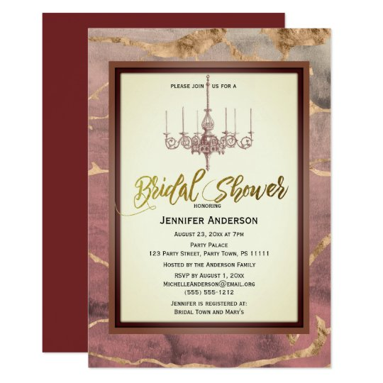 Autumn Marble Gold Wine Chandelier Bridal Shower Card