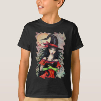 Autumn Mischief  Halloween Witch and Balck Cat T-Shirt