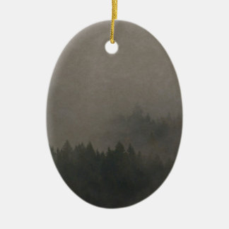 Autumn Moods Misty Forest Photo Art Nature Scene Ceramic Ornament