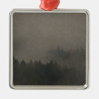 Autumn Moods Misty Forest Photo Art Nature Scene Metal Ornament