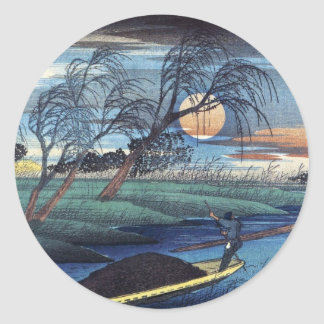 Autumn Moon at Seba, Hiroshige Classic Round Sticker