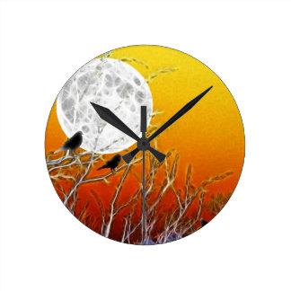 Autumn Moon Round Clock