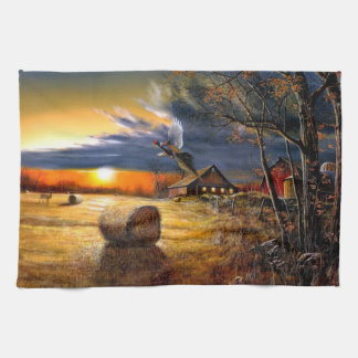 Autumn Morning On The Farm Tea Towel