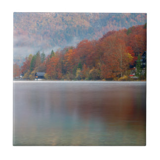 Autumn morning over Lake Bohinj Tile