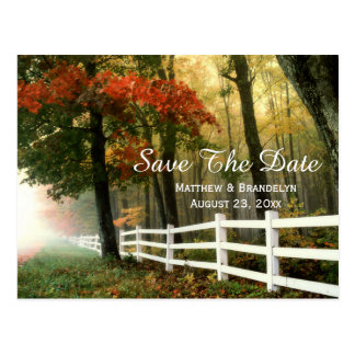 Autumn Morning Save The Date Wedding Post Card
