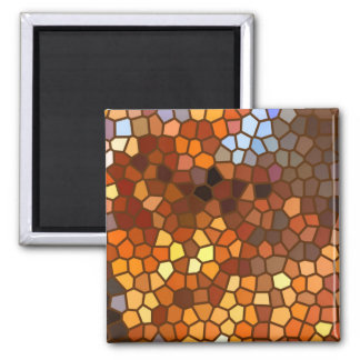 Autumn Mosaic Abstract Square Magnet