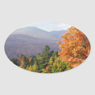 Autumn Mount Mansfield Vermont Oval Sticker