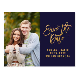 Autumn Navy and Gold Save the Date Photo Postcard