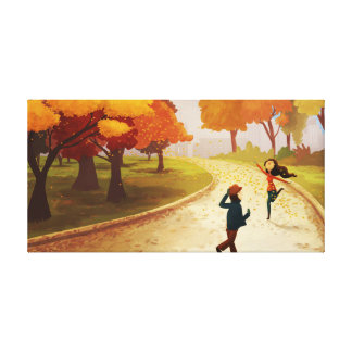 "Autumn New York Happy Art ""Central Park"" Medium Gallery Wrapped Canvas"