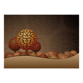 Autumn Night Landscape. Abstract Poster