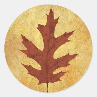 Autumn Oak Leaf Red Classic Round Sticker