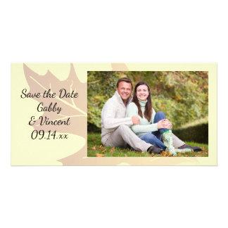 Autumn Oak Leaf Wedding Save the Date Customised Photo Card