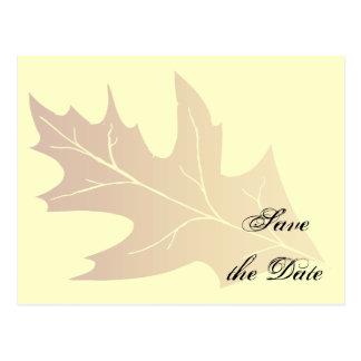 Autumn Oak Leaf Wedding Save the Date Postcard