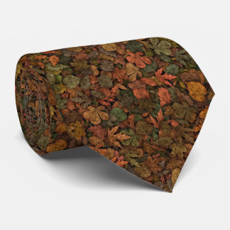 Autumn Oak Leaves Camouflage Greens & Golds Rust Tie