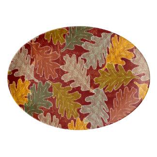 Autumn Oak Leaves Porcelain Serving Platter