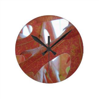 Autumn Oak Leaves Round Clock