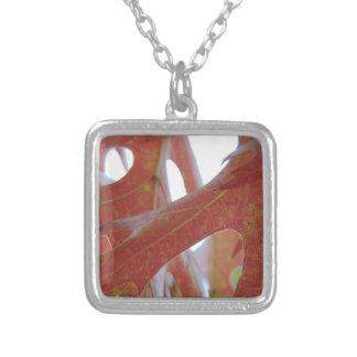 Autumn Oak Leaves Silver Plated Necklace