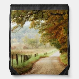 Autumn on a Country Road Drawstring Backpack