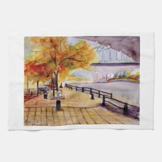 Autumn on Newcastles Quayside Tea Towel