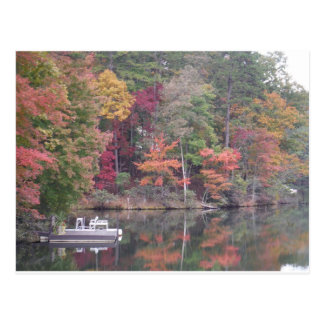 Autumn on smaller lake, Lake Arrowhead Postcard
