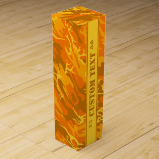 Autumn Orange Camo w/ Custom Text Wine Gift Box