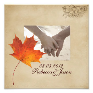 Autumn Orange Fall in Love Leaves Wedding Art Photo