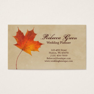 Autumn Orange Fall in Love Leaves Wedding Business Card