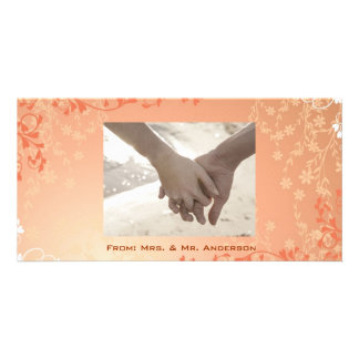 Autumn Orange Fall in Love Leaves Wedding Personalised Photo Card