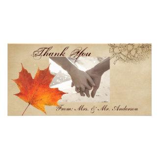 Autumn Orange Fall in Love Leaves Wedding Photo Cards