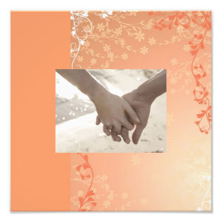 Autumn Orange Fall in Love Leaves Wedding Photographic Print
