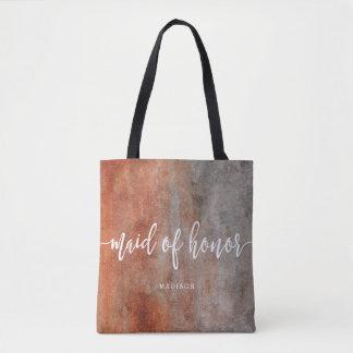 Autumn Orange Gray Maid of Honor Monogram Tote Bag