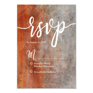 Autumn Orange Gray Watercolor Simple Wedding RSVP Card