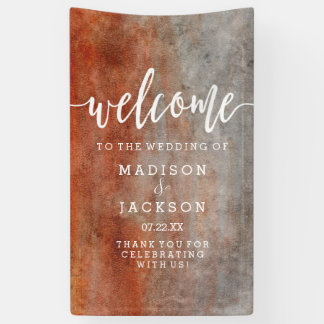 Autumn Orange Gray Watercolor Wedding Welcome Banner