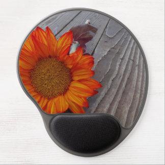 Autumn Orange Sunflower Blossom Gel Mouse Pad