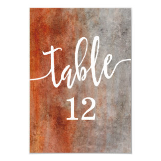 Autumn Orange Watercolor Table Number Seating Card