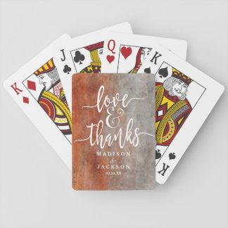 Autumn Orange Watercolor Watercolor Wedding Favor Playing Cards