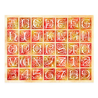 Autumn Ornamental Alphabet and Numbers Postcard