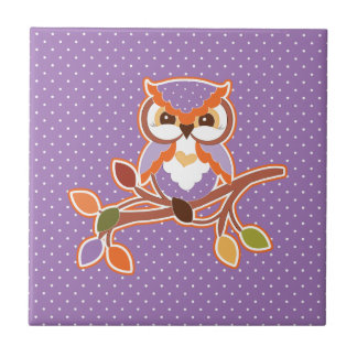 Autumn Owl Ceramic Tile