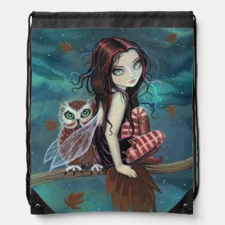 Autumn Owl Fairy Fantasy Art Drawstring Bag