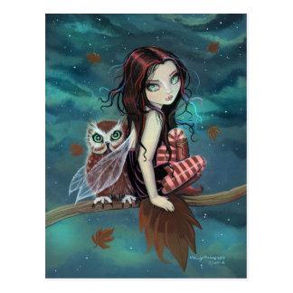 Autumn Owl Gothic Fantasy Fairy and Owl Postcard