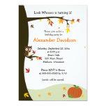 Autumn Owl in Tree Birthday Invitation 5x7
