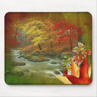 Autumn Painted Wood Mousepad