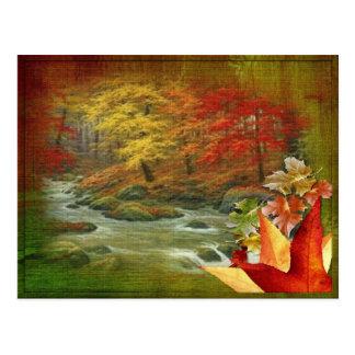 Autumn Painted Wood Postcard