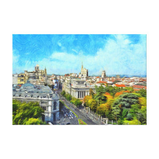 Autumn panorama of Madrid. Canvas Print