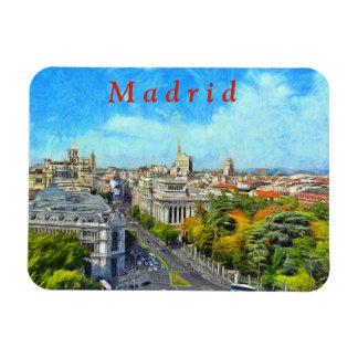 Autumn panorama of Madrid. Magnet