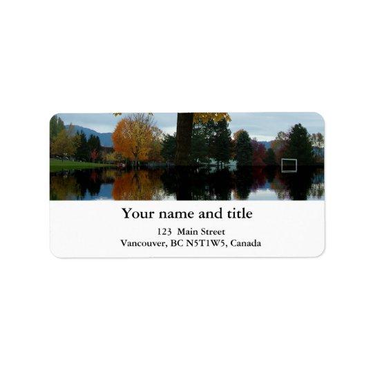 Autumn park in Canada Label