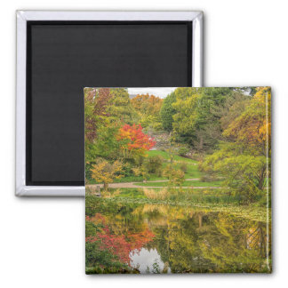 Autumn park square magnet