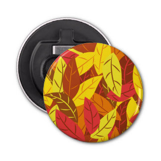 Autumn pattern colored warm leaves bottle opener
